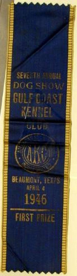 Primary view of object titled '[Blue silk dog show ribbon]'.