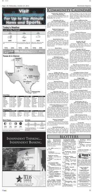 Sweetwater Reporter (Sweetwater, Tex.), Vol. [114], No. [240], Ed. 1 Wednesday, October 24, 2012