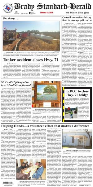 Primary view of object titled 'Brady Standard-Herald and Heart of Texas News (Brady, Tex.), Ed. 1 Wednesday, January 22, 2014'.