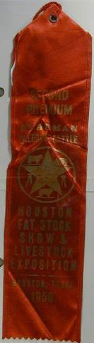 "Primary view of object titled '[Red silk Houston ""Livestock Exposition"" ribbon]'."