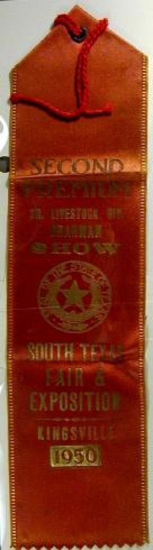 Primary view of object titled '[Red silk Kingsville livestock ribbon]'.