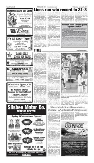The Silsbee Bee (Silsbee, Tex.), Vol. [97], No. [7], Ed. 1 Wednesday, February 13, 2013