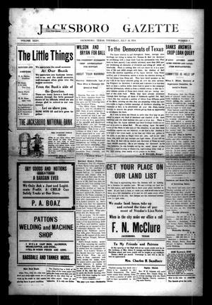 Primary view of object titled 'Jacksboro Gazette (Jacksboro, Tex.), Vol. 35, No. 7, Ed. 1 Thursday, July 16, 1914'.