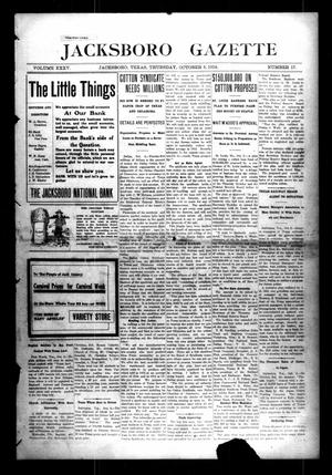 Primary view of object titled 'Jacksboro Gazette (Jacksboro, Tex.), Vol. 35, No. 17, Ed. 1 Thursday, October 8, 1914'.