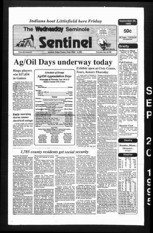 Primary view of object titled 'The Seminole Sentinel (Seminole, Tex.), Vol. 88, No. 95, Ed. 1 Wednesday, September 20, 1995'.