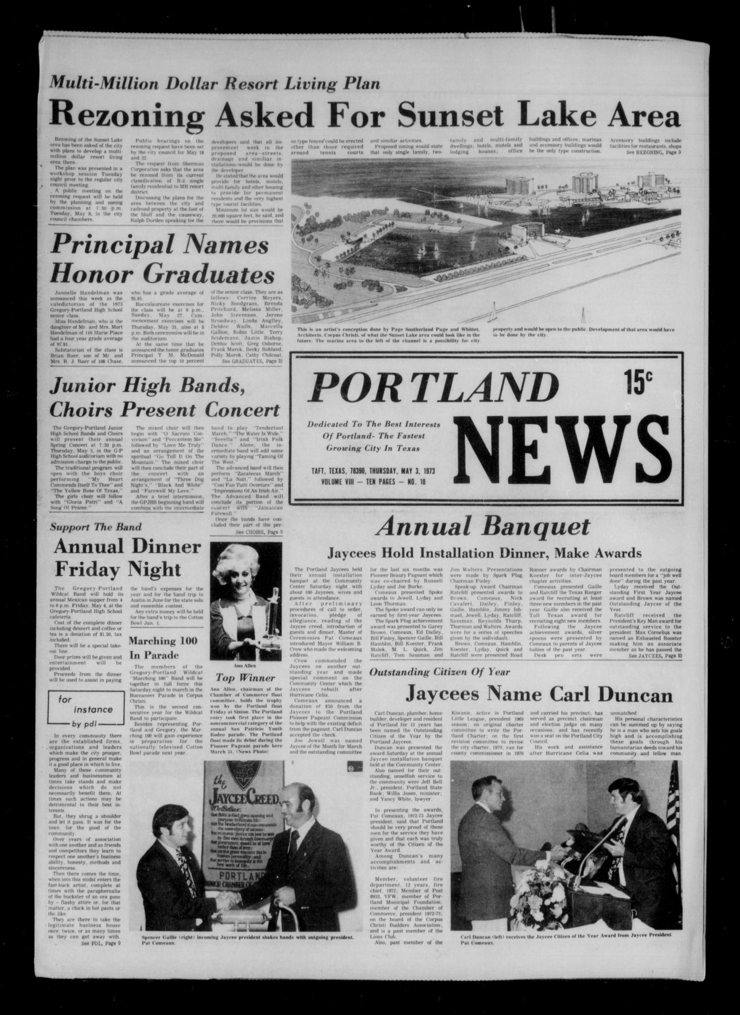Portland News (Portland, Tex.), Vol. 8, No. 18, Ed. 1 Thursday, May 3, 1973                                                                                                      [Sequence #]: 1 of 14