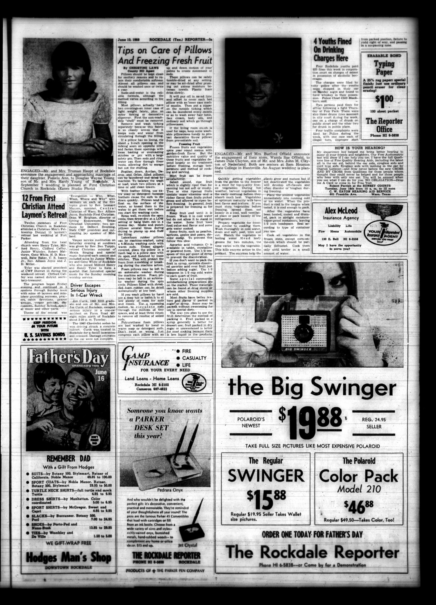The Rockdale Reporter and Messenger (Rockdale, Tex.), Vol. 96, No. 24, Ed. 1 Thursday, June 13, 1968                                                                                                      [Sequence #]: 3 of 15
