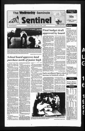 Primary view of object titled 'The Seminole Sentinel (Seminole, Tex.), Vol. 88, No. 85, Ed. 1 Wednesday, August 16, 1995'.