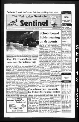 Primary view of object titled 'The Seminole Sentinel (Seminole, Tex.), Vol. 88, No. 93, Ed. 1 Wednesday, September 13, 1995'.