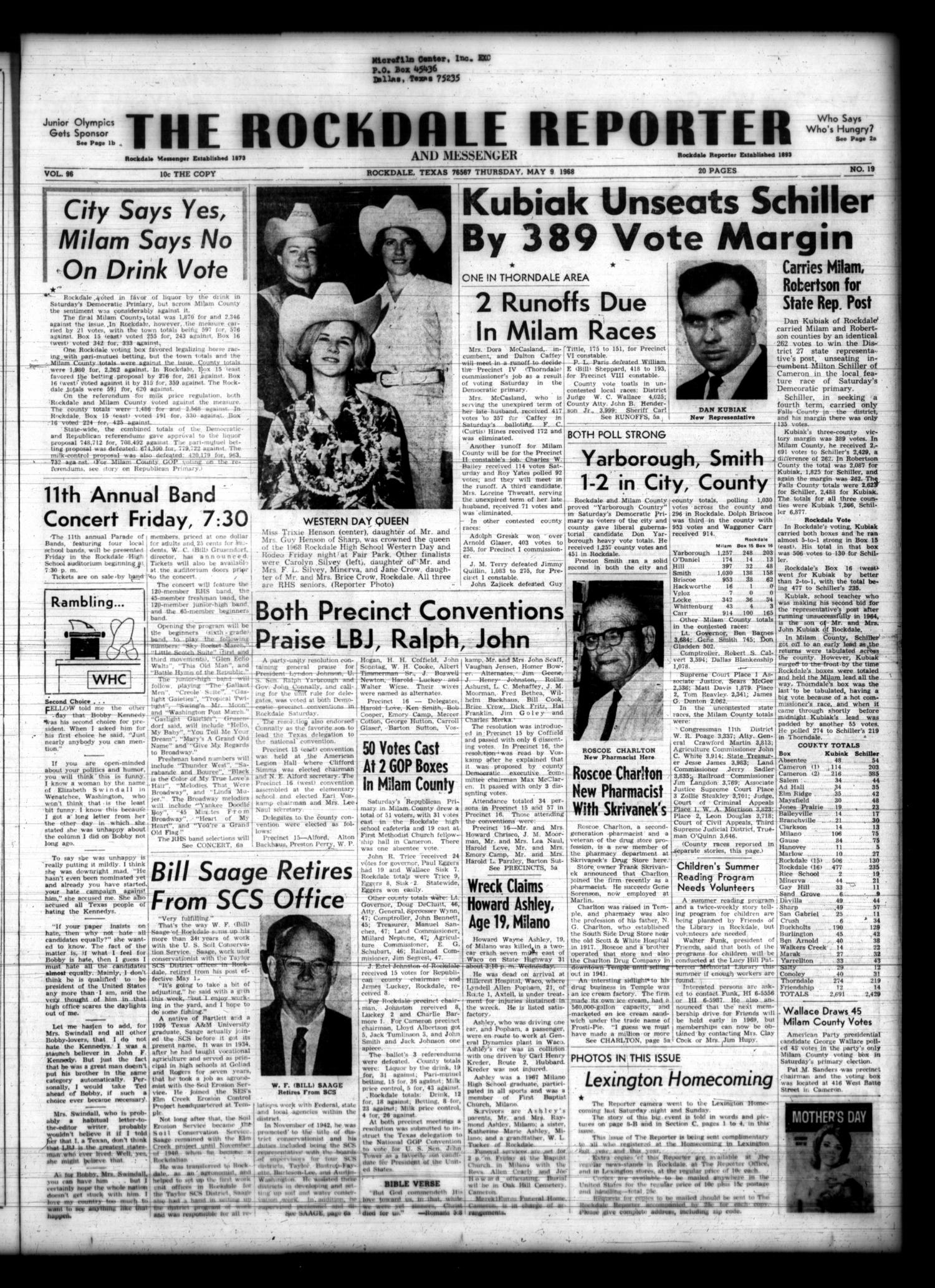 The Rockdale Reporter and Messenger (Rockdale, Tex.), Vol. 96, No. 19, Ed. 1 Thursday, May 9, 1968                                                                                                      [Sequence #]: 1 of 19