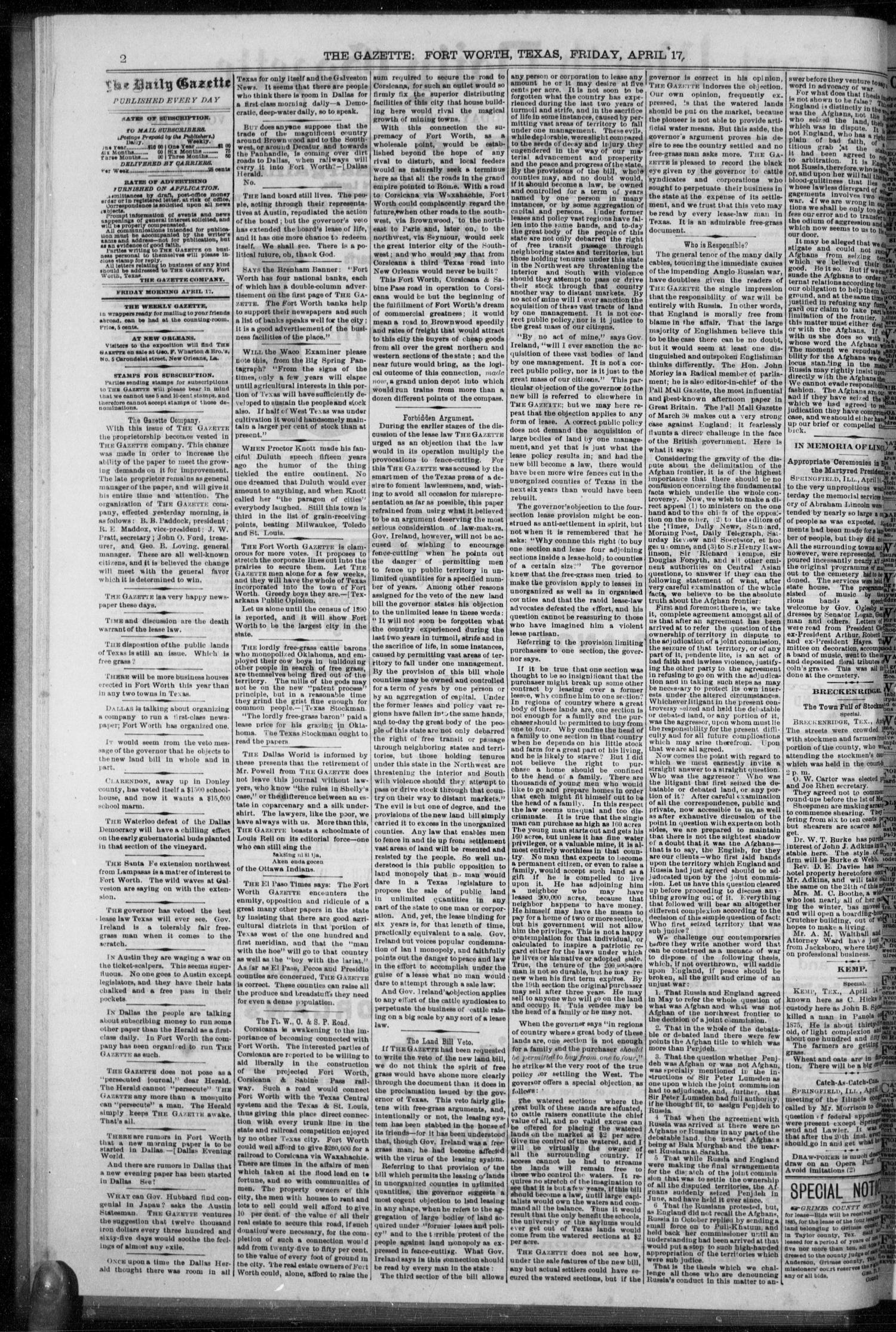 Fort Worth Daily Gazette. (Fort Worth, Tex.), Vol. 9, No. 276, Ed. 1, Friday, April 17, 1885                                                                                                      [Sequence #]: 2 of 8