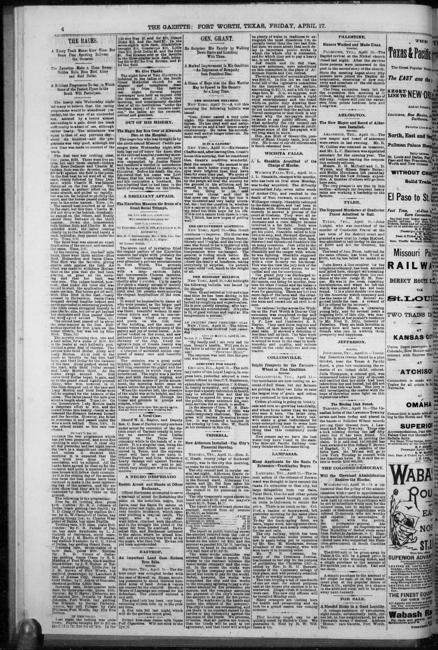 Fort Worth Daily Gazette. (Fort Worth, Tex.), Vol. 9, No. 276, Ed. 1, Friday, April 17, 1885                                                                                                      [Sequence #]: 4 of 8