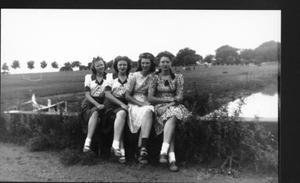 Primary view of object titled '[Four young women sitting on the cement ledge of the bridge over Dry Creek]'.