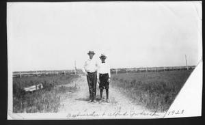 Primary view of object titled '[Sylvester and Alfred Jodarski at George Ranch]'.