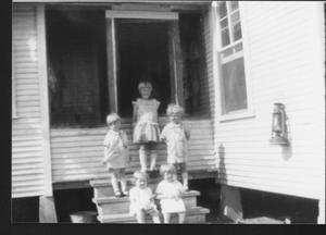 Primary view of object titled '[Five children on the Jodarski back porch]'.