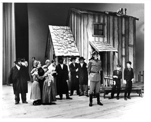 Primary view of object titled '[Policeman and Crowd in Fiddler on the Roof, 1972]'.