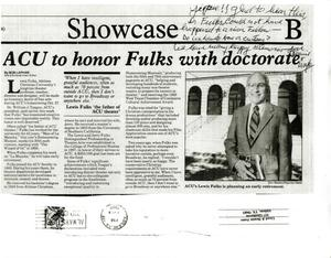Primary view of object titled '[Newspaper Clipping About Lewis Fulks' Honorary Doctorate]'.