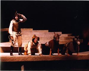 Primary view of object titled '[Don Quixote and Sancho Next to Their Donkeys in Man of La Mancha, 1990]'.