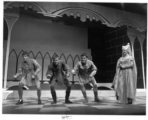 Primary view of object titled '[Three Men and Jackie Smith in Camelot]'.