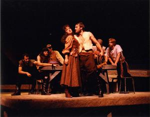Primary view of object titled '[Pedro Harasses Aldonza in Man of La Mancha, 1990]'.