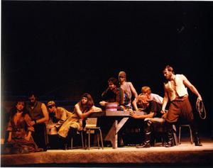 Primary view of object titled '[Muleteers and Aldonza in Man of La Mancha, 1990]'.