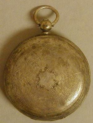 Primary view of object titled '[Silver pocket watch]'.