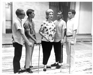 Primary view of object titled '[Barbershop Quartet and Donna Rankin in The Music Man, 1963]'.