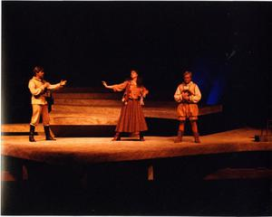 Primary view of [Don Quixote, Aldonza, and Sancho in Man of La Mancha, 1990]
