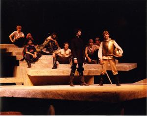 Primary view of object titled '[Don Quixote and the Muleteers in Man of La Mancha, 1990]'.
