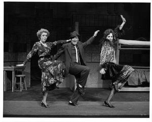 Primary view of object titled '[Three Actors Dance and Sing Together in Annie, 1986]'.