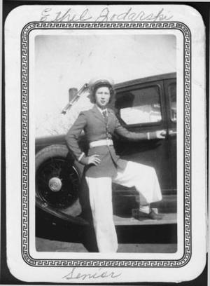 Primary view of object titled '[Ethel Jodarski wearing a uniform]'.