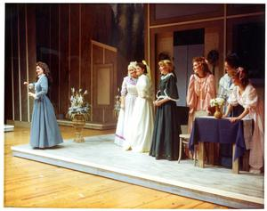 Primary view of object titled '[Seven Actresses Onstage in Seven Brides for Seven Brothers]'.