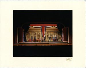 Primary view of object titled '[Annie and Warbucks Sing With Franklin D. Roosevelt in Annie, 1986]'.