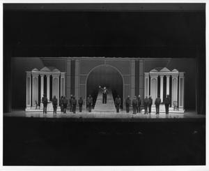 Primary view of object titled '[Waiters and Mark Faulkner in Hello, Dolly!]'.