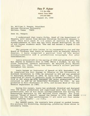 Primary view of [Letter from Rex Kyker to Dr. William J. Teague]