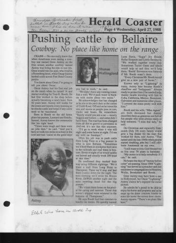 "[Newspaper article titled ""Pushing cattle to Bellaire""]                                                                                                      [Sequence #]: 1 of 1"