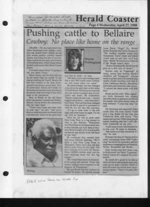"[Newspaper article titled ""Pushing cattle to Bellaire""]"