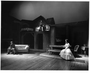 Primary view of object titled '[Three Actors Onstage in Seven Brides for Seven Brothers #2]'.