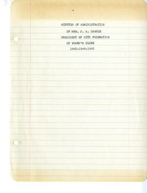 Primary view of object titled '[Abilene City Federation of Women's Clubs Minutes: 1963 - April 5, 1965]'.