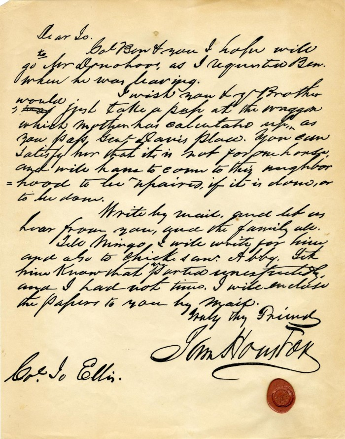 Letter From Sam Houston To Col Jo Ellis The Portal To Texas History