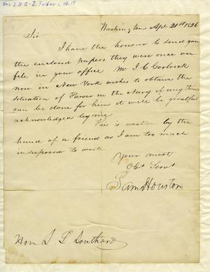 Primary view of [Letter from Sam Houston to Hon. I. L. Southard, April 1826]