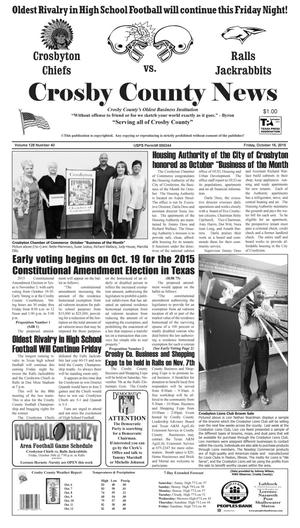 Primary view of object titled 'Crosby County News (Ralls, Tex.), Vol. 128, No. 40, Ed. 1 Friday, October 16, 2015'.