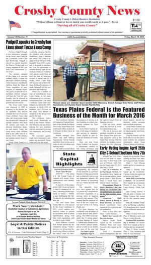 Primary view of object titled 'Crosby County News (Ralls, Tex.), Vol. 129, No. 11, Ed. 1 Friday, March 18, 2016'.