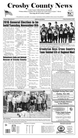 Primary view of object titled 'Crosby County News (Ralls, Tex.), Vol. 129, No. 43, Ed. 1 Friday, November 4, 2016'.