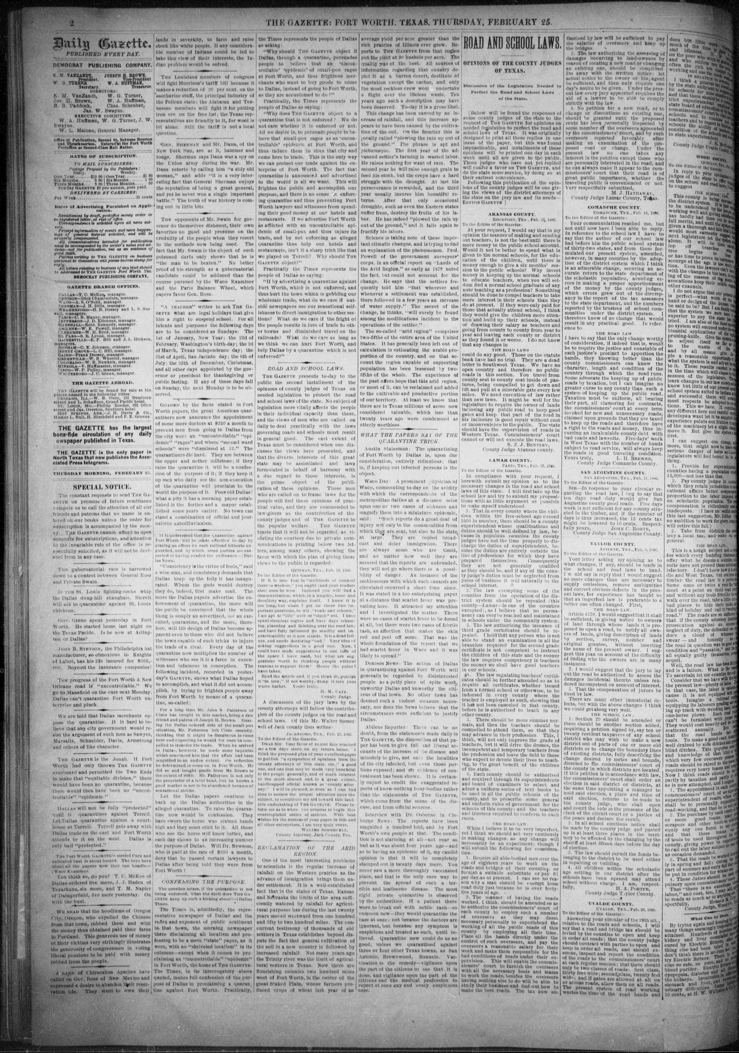 Fort Worth Daily Gazette. (Fort Worth, Tex.), Vol. 11, No. 210, Ed. 1, Thursday, February 25, 1886                                                                                                      [Sequence #]: 2 of 8