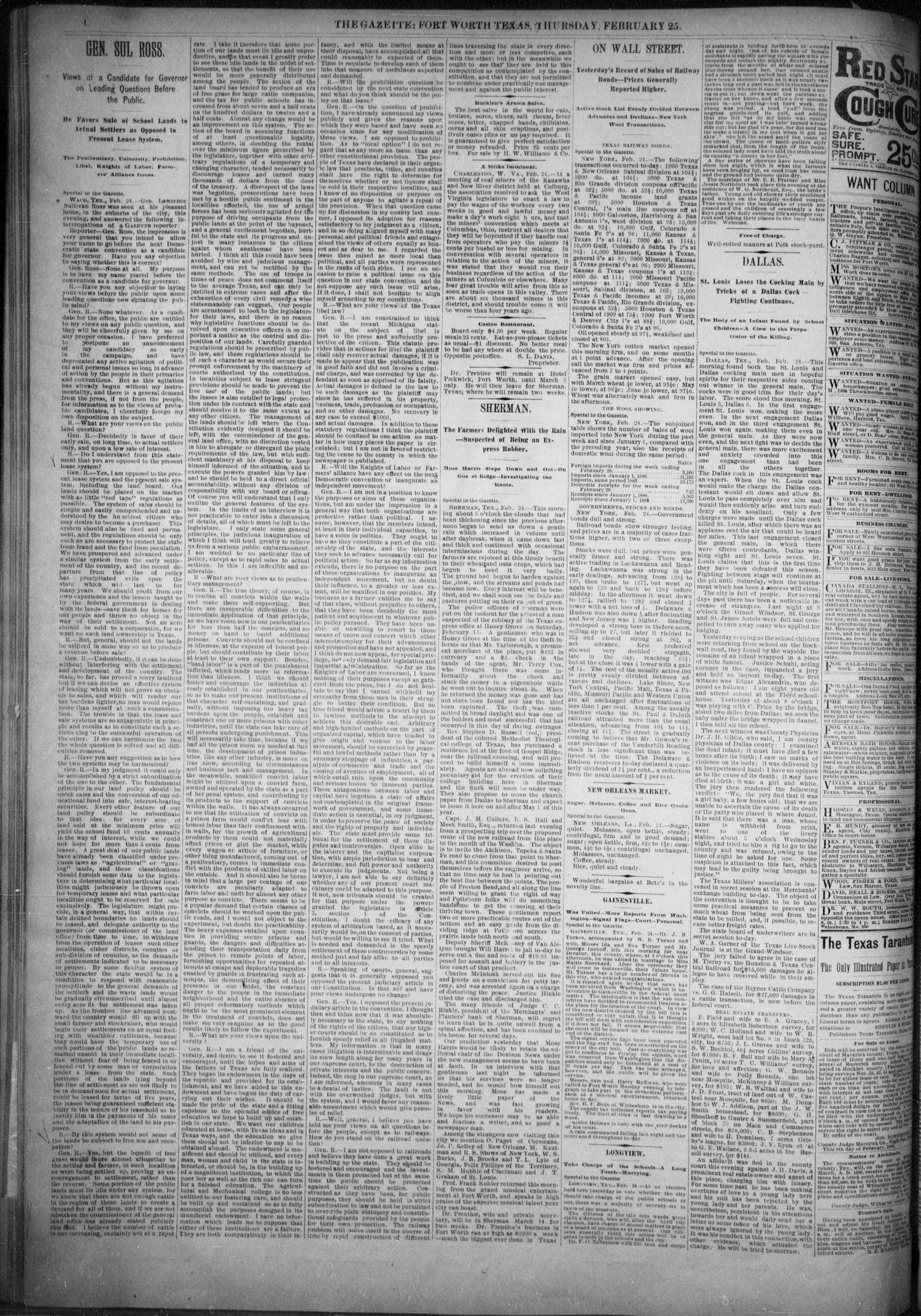 Fort Worth Daily Gazette. (Fort Worth, Tex.), Vol. 11, No. 210, Ed. 1, Thursday, February 25, 1886                                                                                                      [Sequence #]: 4 of 8