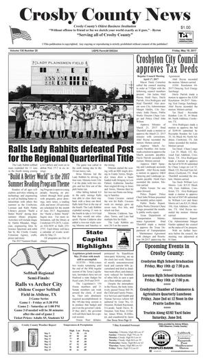 Primary view of object titled 'Crosby County News (Ralls, Tex.), Vol. 130, No. 20, Ed. 1 Friday, May 19, 2017'.