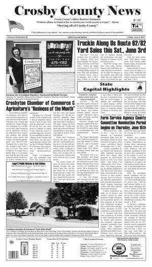 Primary view of object titled 'Crosby County News (Ralls, Tex.), Vol. 130, No. 22, Ed. 1 Friday, June 2, 2017'.