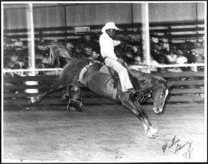 [Rodeo cowboy Willie Gomez participating in bronco riding]