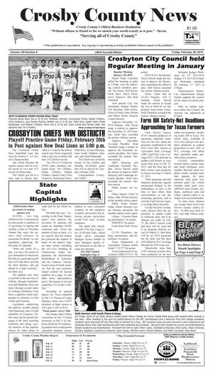 Primary view of object titled 'Crosby County News (Ralls, Tex.), Vol. 128, No. 8, Ed. 1 Friday, February 20, 2015'.